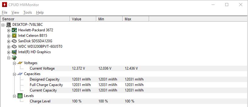 Данные о батарее ноутбука