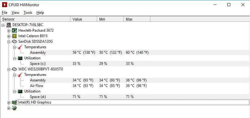 Просмотр параметров жестких дисков